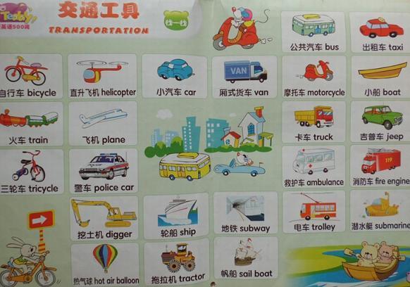 幼儿启蒙英语500词 第3期:交通工具英语词汇