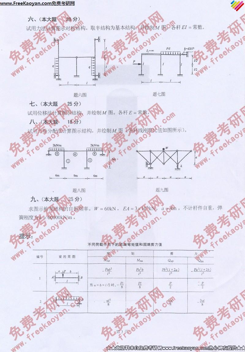 河北工业大学2007年结构力学专业课考研真题试卷