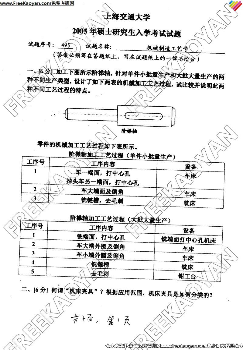 上海交通大学2005年机械制造工艺学专业课考研真题