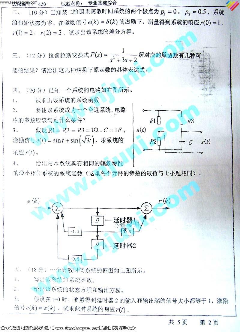 东南大学2004年信号与系统,数字电路(专业基础综合)专业课考研真题