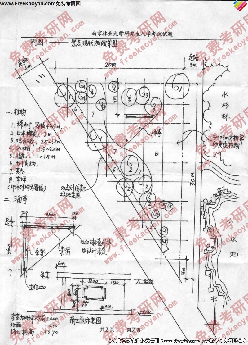 南京林业大学2003年园林设计初步专业课考研真题试卷图片