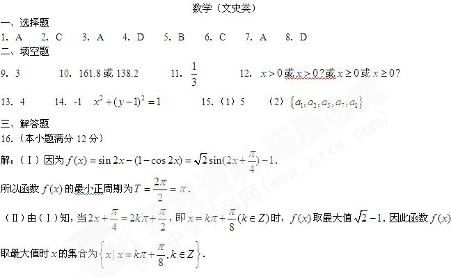 2010年高考数学真题附解析(湖南卷+文科)