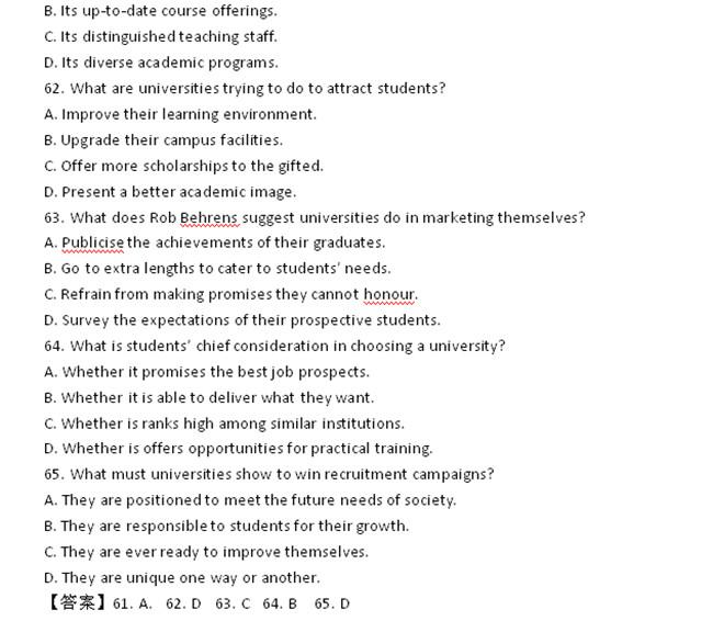 2014年12月英语六级阅读真题及答案 英语六级