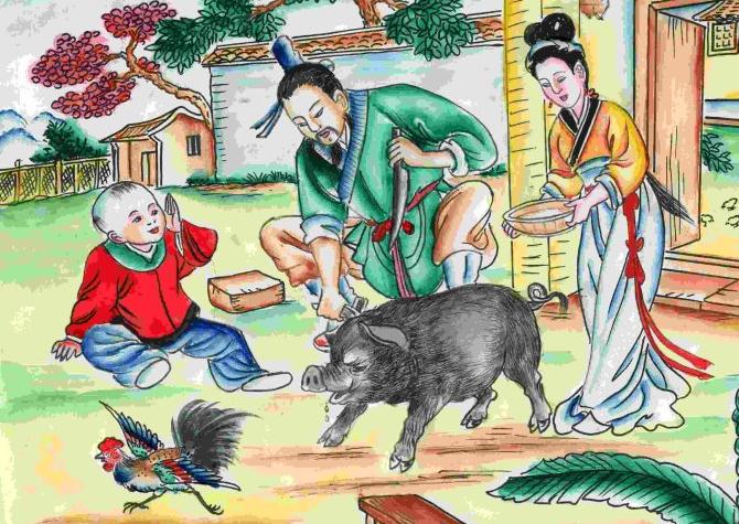 中国寓言故事双语版 第50期:杀猪教子
