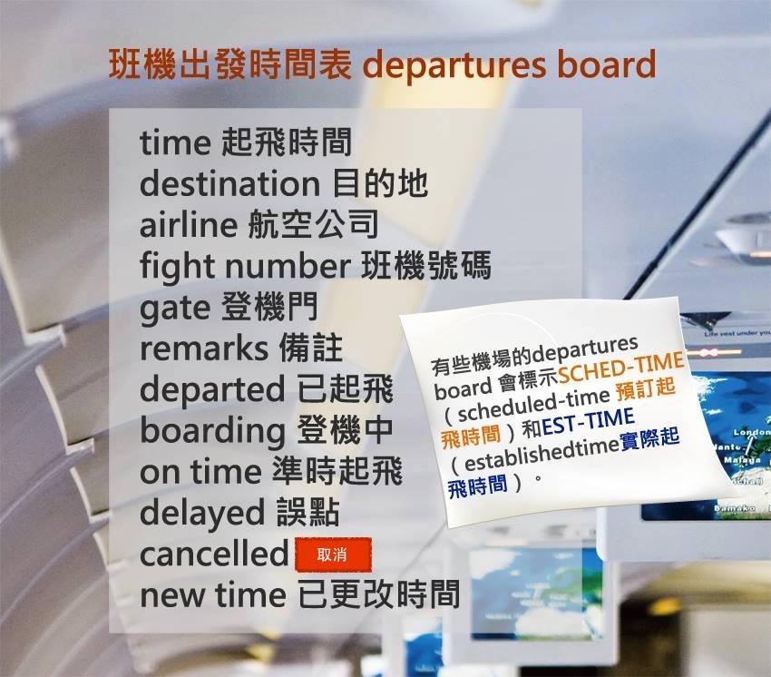 常见的飞机出发时间表用语