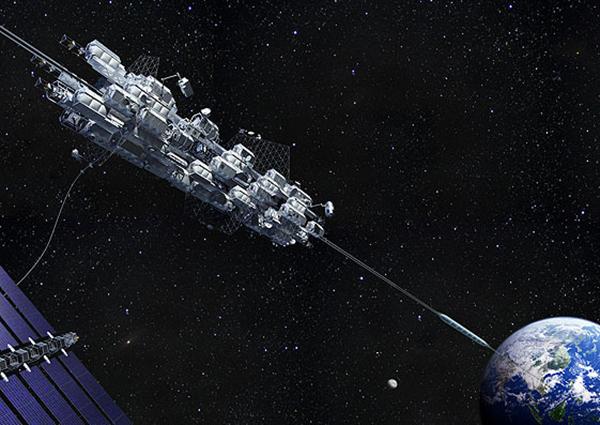 在2050年将会实现输送人或货物进入太空的电梯