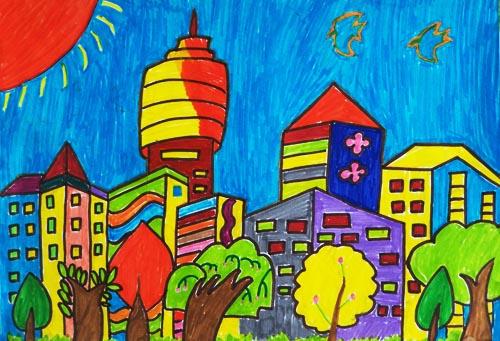 城市高楼大厦简笔画-高中英语作文模板 第87期 家乡的变化 Changes