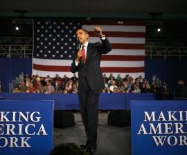 奥巴马总统在市政厅强调经济发展
