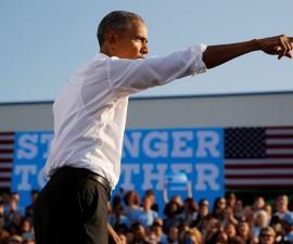 以奥巴马为首的助选人在选举战场中发声