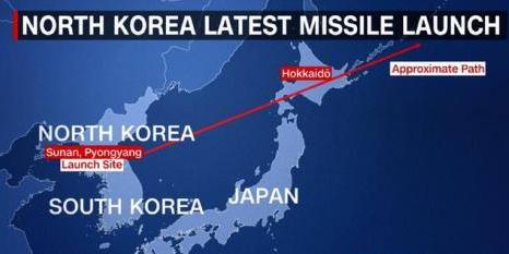 朝鲜发射导弹飞过日本上空