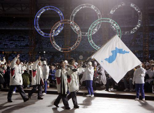朝韩在2006年冬季奥运会开幕式举半岛旗共同入场.jpg