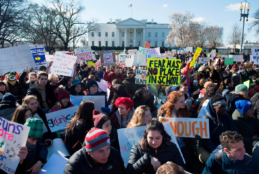 美国学生罢校抗议枪支暴力