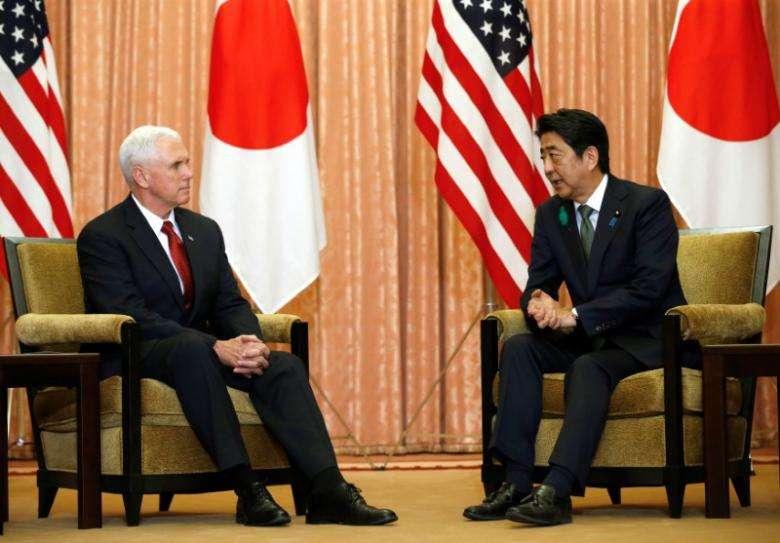 美副总统与安倍共商贸易与朝鲜问题.jpg