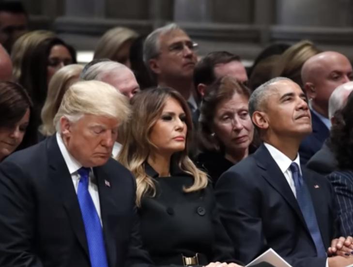 特朗普和克林顿夫妇于老布什葬礼上互相冷落.png